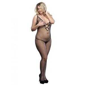 Plus Queen Size Sexy Women's Black Fishnet Body Stockings LA-8728Q