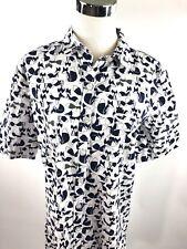 Sonoma Intimates Pajamas Shirt Dress Night Sleep White Blue Fox Short Sleeve S