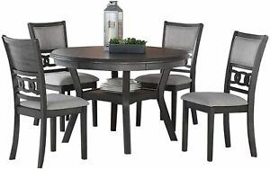"New Classic FURNITURE Gia Round Dining Set, 47"", Gray"