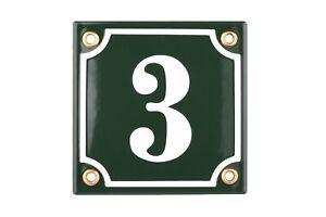 Porcelain address plaque 4x4″ customisable handcrafted enamel house number sign