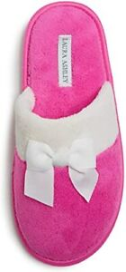 Laura Ashley Ladies Terry Scuff Slipper with Bow Bright Pink Size S 5-6 New NWT