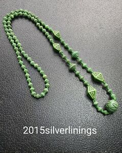 "VINTAGE CZECH ART DECO MAX NEIGER GREEN GLASS BEAD NECKLACE 28"""