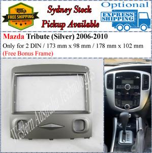 Fascia facia Fits Mazda Tribute Ford Escape Silver Double Two 2 DIN Dash Kit-