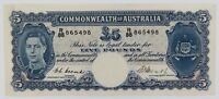 .SUPER RARE aUNC 1949 R47 COOMBS / WATT 5 POUNDS / FIVE POUNDS NOTE. R88 865498