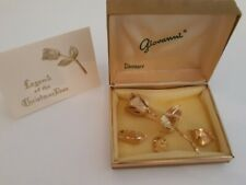 Vintage Gold Giovanni Legend of the Christmas Rose Brooch Pin & Clip Earrings