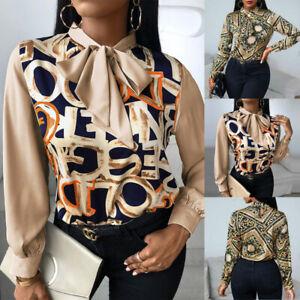 Womens Vintage Bow Tie Blouse Ladies Long Sleeve Print Shirts OL Casual Tops