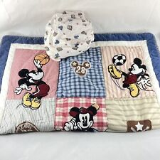 Vintage 90s Disney Mickey Mouse Sports Baby Blanket Quilt Crib Bedding w/ Sheet