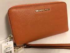NEW Michael Kors Gold Tangerine Pebble Leather Flat Multi Phone Wristlet Wallet