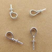 5 10 Sterling Silver Peg Bail Pearl Cup Cap Pendant Hook Pin Dangle Crystal Bead