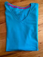 Shirt | Tommy Hilfiger | V-Shirt türkis Logo | Größe S | ORIGINAL NEU