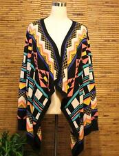 Flying Tomato Sweater L Multi Color Bright Large Long Flyaway Cardigan Aztec