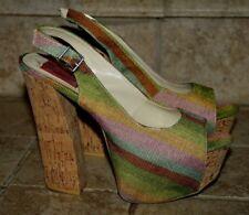 37ae2c97ea5 FRH Womens Size 8.5 Open-Toe Slingback Platform Chunky Heel Shoes (S-622