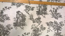 curtain weight linen fabric cream and black Toile