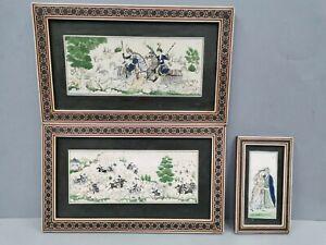 collection de 3 Peintures signées  / Tableaux miniatures Indo - Persanne
