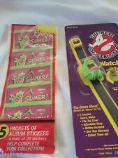 Rare Black Band Vintage The Real Ghostbusters Watch Slimer And Stickers