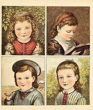 GORGEOUS VICTORIAN CHILDREN ANTIQUE LITHOGRAPH PRINT 1886