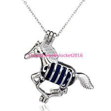 Horse Pearl Stone Cage - Scent Diffusing Locket Necklace Pendnat -K43
