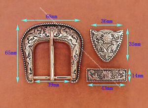 "Heavy Gold Western Cowboy Belt Buckle 3 Piece Set Floral Carved Unisex 1-1/2"""
