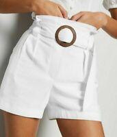 NEW LOOK Women's Off White Linen Look Summer Buckle Shorts Bottom UK 6 to 16 £36