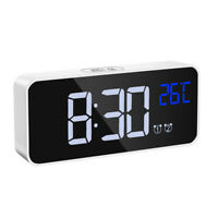 Alarm Clock Night Light Thermometer Digital LED LCD Display USB Battery Operated