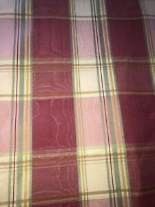 "SCHUMACHER CUSTOM MOIRE PLAID DRAPES~ROSE,GREEN,YELLOW (2)AVAILABLE 87""L"