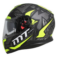 MT Thunder 3 SV FRACTAL Matt Black /Grey /Fluo Yellow  Motorcycle Helmet Lid zq