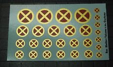 Scale Custom Waterslide Decals: X-Men Logos RED and GOLD (OPAQUE)