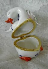Collectible CAPO DE MONTE Hand Painted Goose / Rose Hinged Ceramic Trinket Box