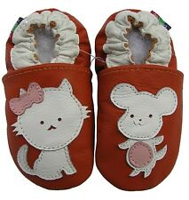 carozoo mouse cat orange 2-3y soft sole leather toddler shoes