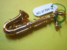 PENDENTIF SAXOPHONE PLAQUE OR VINTAGE 70 NEUF/NEW SAXOFONE PENDENT GOLD PLATED