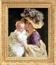 VICTORIAN MOTHER & BABY Dollhouse Miniature Art Picture - MADE IN AMERICA