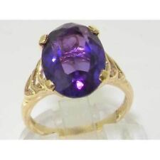 Luxury 9ct Yellow Gold Large Amethyst Solitaire English Ring