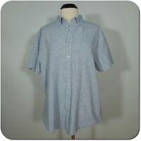 SONOMA Men's Blue Button Front Shirt, Short Sleeves, Front Pocket, Modern Fit XL