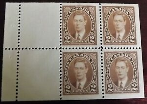 CANADA KG VI 1937-38 BOOKLET PANE 2c BROWN MINT HINGED S.G.358a VGC