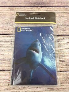 """National Geographic Hardcover Lined Notebook 60 pages 7""""x5"""" Great White Shark"""