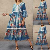 Women Ruffles Sleeve Casual Loose Tiered Floral Kaftan Maxi Long Dress Plus Size