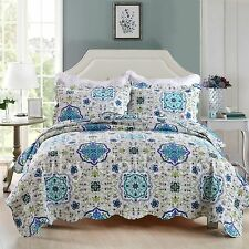 Cotton Patchwork Cotton Quilt Bedspread Coverlet Set 3 piece Queen King