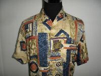 vintage Viskose Hemd crazy pattern 90s Shirt new wave 90er gemustert Gr.L