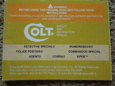 Original Colt All Revolvers not Python Factory Safety AndInstruction Manual 2002