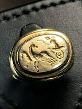 Antique Ancient Sassanian Intaglio Signet Gold Gilded Solid Silver Ring 7th AD
