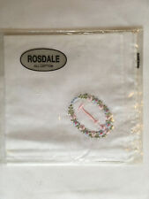 Monogrammed Handkerchief with pink letter I in floral wreath. new in packet