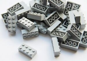 LEGO BRICKS 50 x LIGHT GREY 2x4 Pin - From New Sets Sent in a Clear Sealed Bag