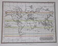CLIMATOLOGIA TERRESTRE_ISOTERME_PLANISFERO_ANTICA CARTOGRAFIA_AMERICA_ASIA_'800