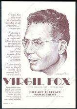 1967 Virgil Fox portrait organ recital tour booking trade print ad