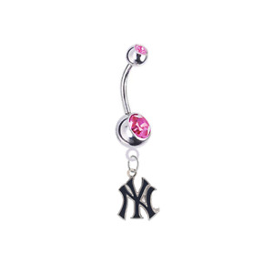 New York Yankees 2 PINK CZ Silver Belly Button Navel Ring Piercing SHIPS TODAY