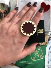 House Of Harlow 1960 ring S-6-7-8 14k Gold Plated 100% Authentic Burgundy NEW$55