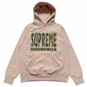 Size L - Supreme Fuck'Em All Paisley Logo Sweatshirt Hoodie Pink FW17