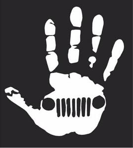 """Wave Hand (1 Right, 1 Left-Handed) Vinyl Decal Sticker   Each 5"""" Inches Wide"""