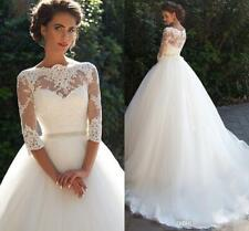 Country Vintage Lace 2020 Wedding Dress High Neck Pearls Tulle Bridal Ball Gown
