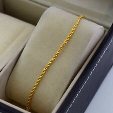 "24K Yellow Gold Filled Bracelet Chain 7""Link Rope GF Women Charm Fashion Jewelry"